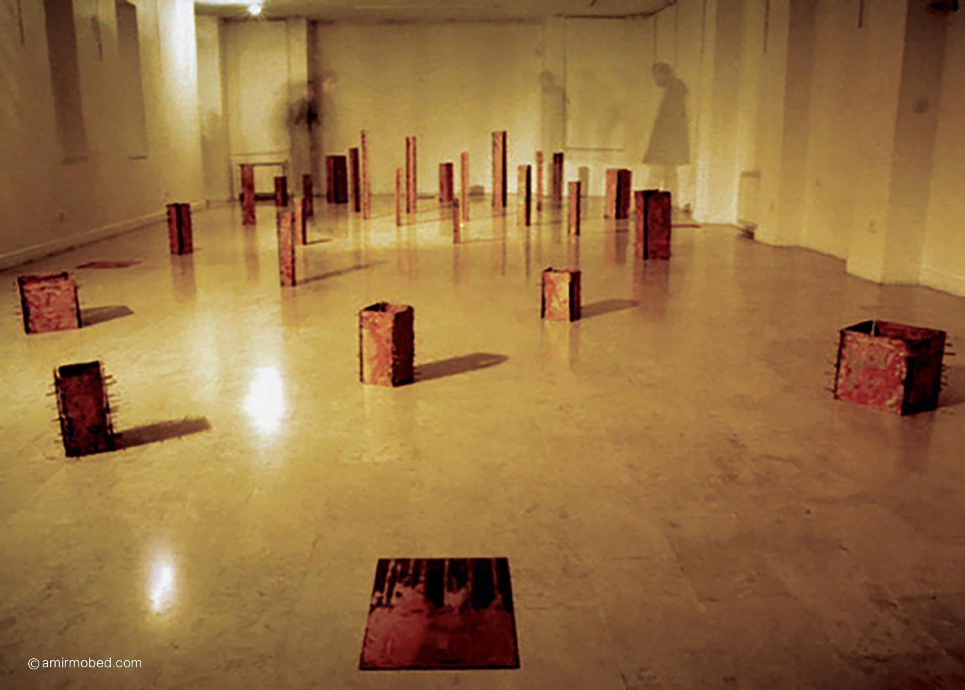 Untitled, Installation, 2003, Rusted iron sheet