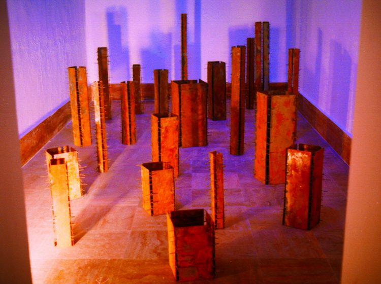 Untitled, Installation, 2003, Rusted iron sheet