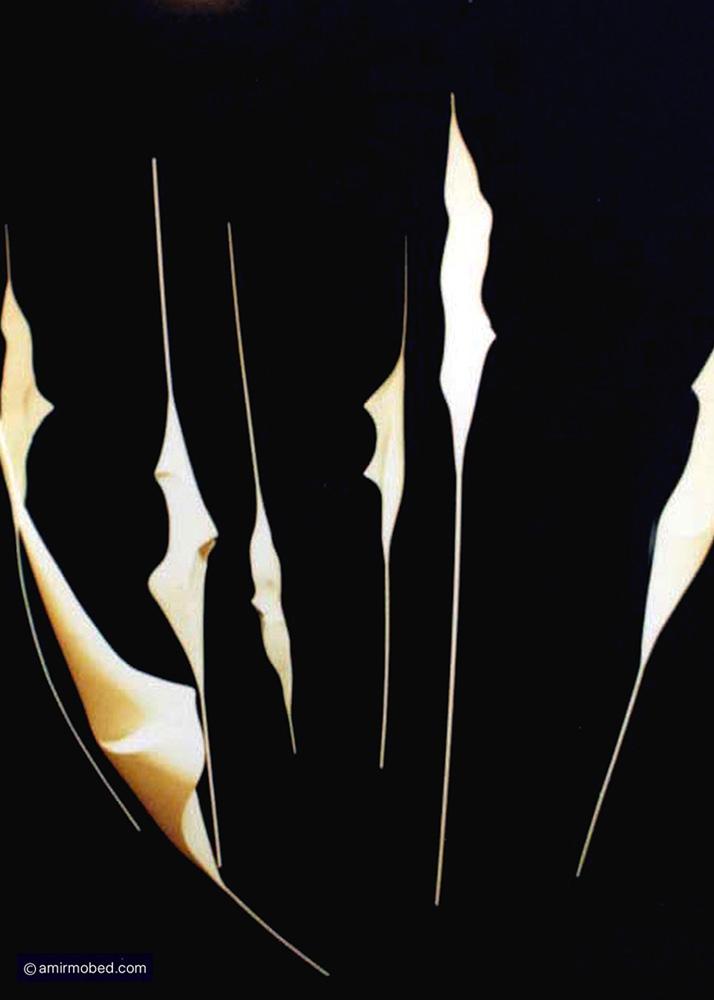 untitled, 2002, Installation, plaster, iron bar, set in a black room 330x550x350 cm