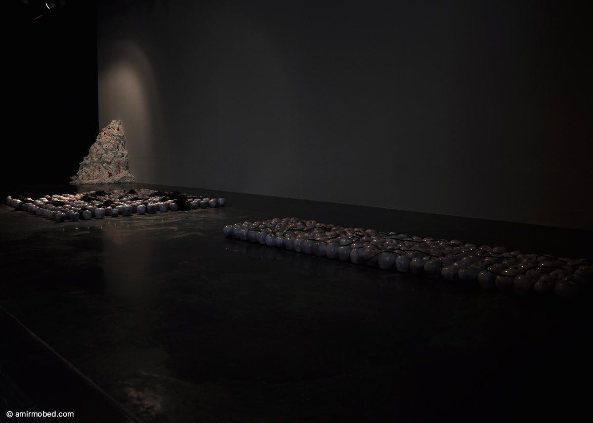 باکرگی، چیدمان، ۱۳۹۱، سیب، اسپری سفید، مو، دستمال کاغذی